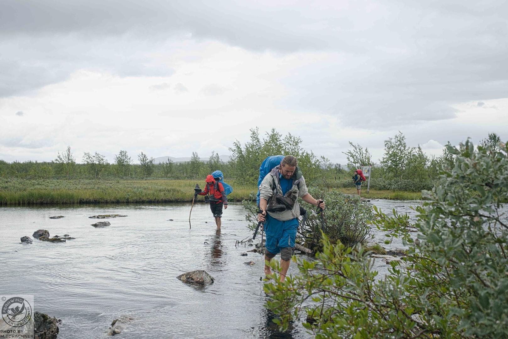 fernwind schweden sarek scouting trekking expedition Flussquerung